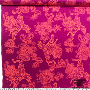 Paisley Boho Elephant Printed Crepe De Chine - Magenta/Orange