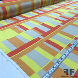 Geometric Printed Silk Crepe de Chine - Orange/Yellow - Fabrics & Fabrics