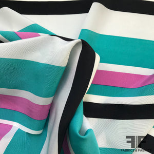 Multi Stripe Printed Silk Crepe de Chine - Purple/Teal