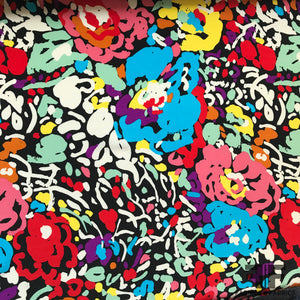 Floral Pop Printed Crepe De Chine - Multicolor