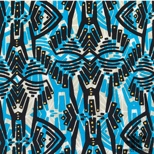 Abstract Printed Silk Crepe de Chine - Blue/Black - Fabrics & Fabrics NY