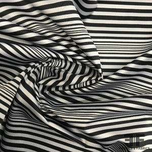 Italian Striped Yarn Dye Satin Poly/Cotton - Black/White - Fabrics & Fabrics
