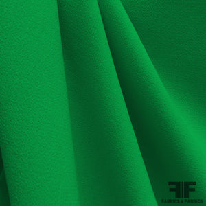Italian Double Faced Wool Crepe - Green - Fabrics & Fabrics