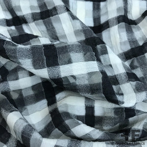 Novelty Plaid Wool Gauze - Black/White
