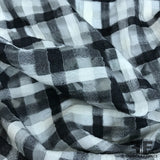 Novelty Plaid Wool Gauze - Black/White - Fabrics & Fabrics