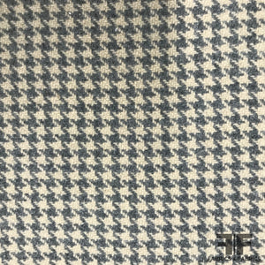 Italian Wool Houndstooth Coating - Grey/Ivory - Fabrics & Fabrics
