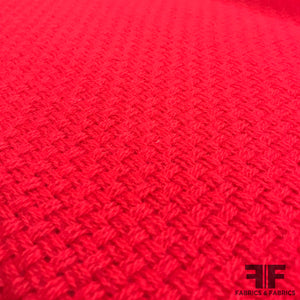 Heavy Wool Basketweave Coating - Red - Fabrics & Fabrics
