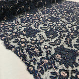 Couture Chantilly Beaded Lace - Navy - Fabrics & Fabrics NY