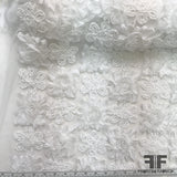 3D Floral Embroidered Netting - White