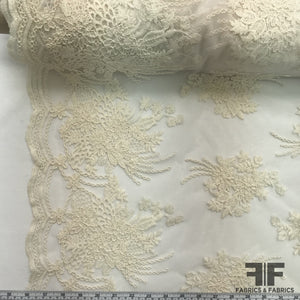 Floral Embroidered Netting - Ivory - Fabrics & Fabrics