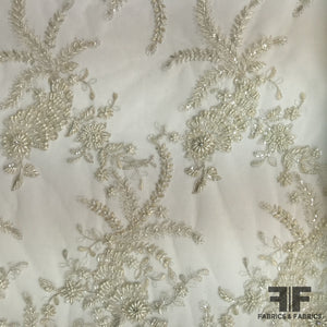 Couture Floral Beaded Netting - Ivory/Silver - Fabrics & Fabrics NY