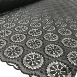 Circle Motif Embroidered Netting - Black - Fabrics & Fabrics NY