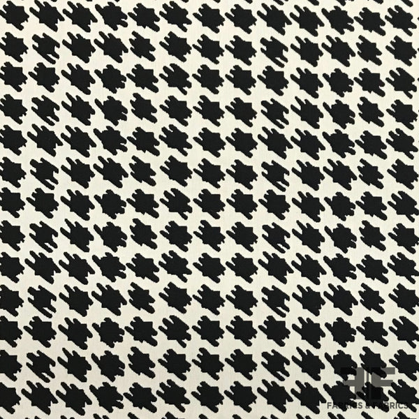 Italian Graphic Houndstooth Brocade - Black/White - Fabrics & Fabrics