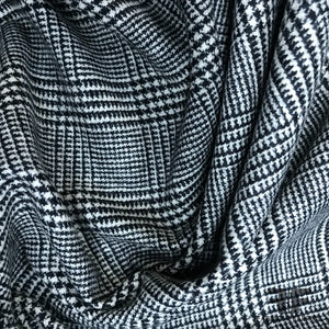 Italian Checkered Houndstooth Wool Stretch Suiting - Black/White - Fabrics & Fabrics