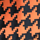 Houndstooth Brocade - Orange/Black - Fabrics & Fabrics