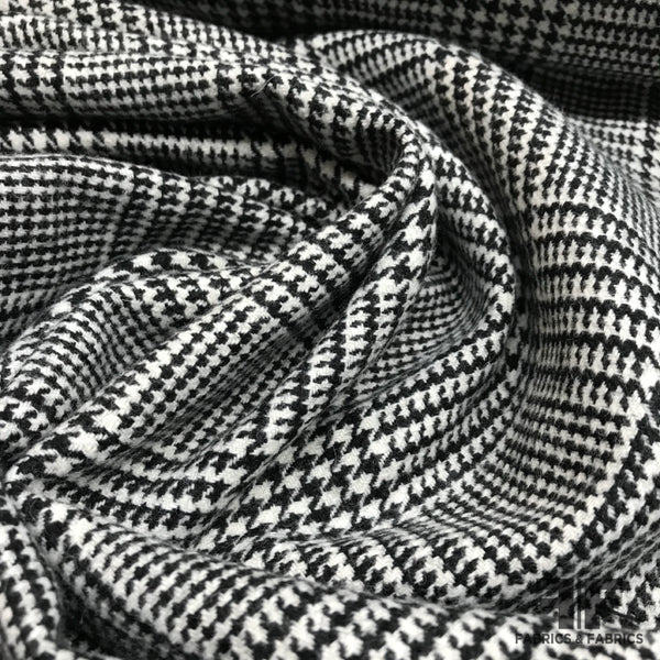 Italian Checked Houndstooth Wool Coating - Black/White - Fabrics & Fabrics