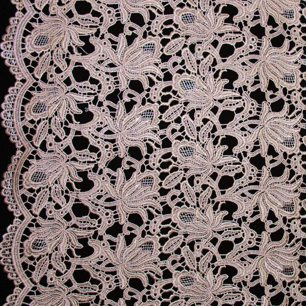 Scalloped Floral Guipure Lace - Beige