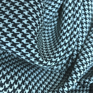 Houndstooth Printed Crepe De Chine - Black/White