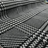 Checkered & Houndstooth Wool Coating - Black/White - Fabrics & Fabrics NY