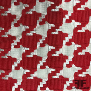 Woven Houndstooth Cotton Suiting - Red/White - Fabrics & Fabrics