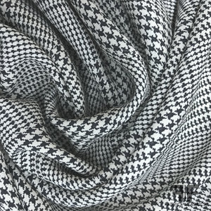Italian Checkered & Houndstooth Dot Printed Silk Crepe de Chine - Black/White