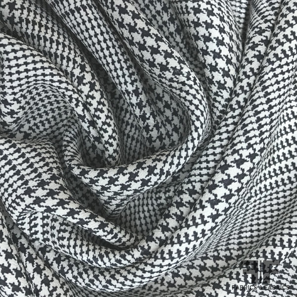 Italian Checkered & Houndstooth Dot Printed Silk Crepe de Chine - Black/White - Fabrics & Fabrics