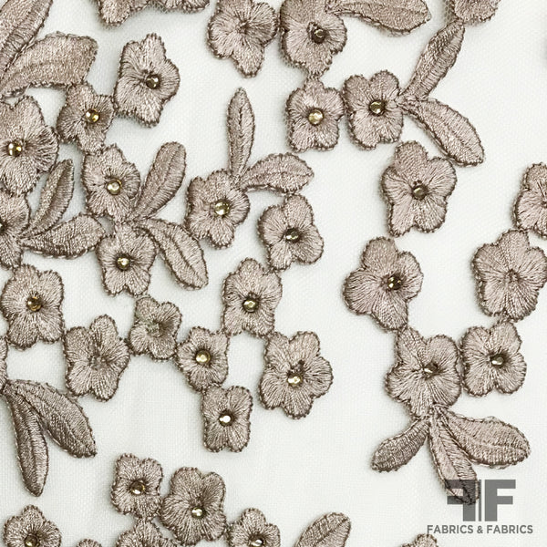 Small Florals Embroidered Netting - Beige - Fabrics & Fabrics