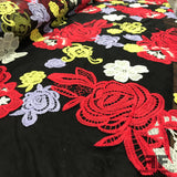 Floral Embroidered Netting - Black/Red/Yellow - Fabrics & Fabrics