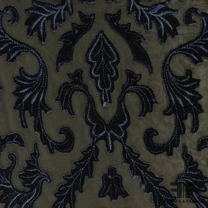 Baroque-esque Velvet Embroidered Netting - Black/Navy - Fabrics & Fabrics NY