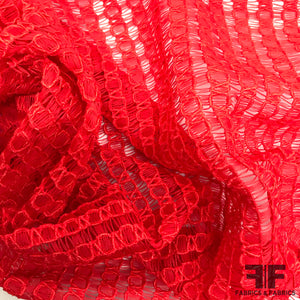 Geometric Open Weave Lace - Red - Fabrics & Fabrics