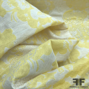 Floral with Metallic Dot Brocade - Yellow/Ivory - Fabrics & Fabrics