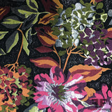 Floral Blooming Metallic Brocade - Pink/Black/Orange - Fabrics & Fabrics NY
