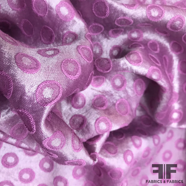 Metallic Polka Dot Brocade - Purple - Fabrics & Fabrics