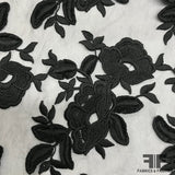 Floral Embroidered Netting - Black - Fabrics & Fabrics