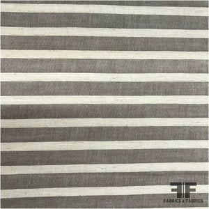 Striped Medium Weight Cotton - Grey/Cream - Fabrics & Fabrics