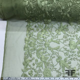 Floral Embroidered Netting - Pale Green - Fabrics & Fabrics