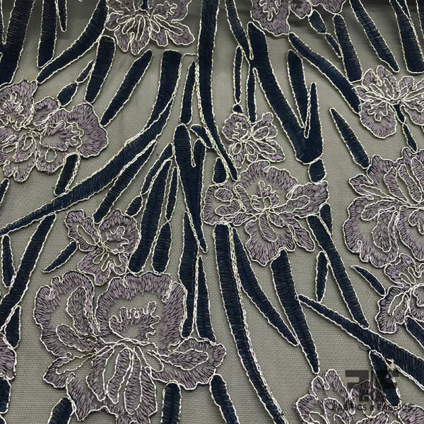 Floral Embroidered Netting - Navy/Mauve/Silver - Fabrics & Fabrics