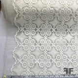 Floral Motif Embroidered Organza - White - Fabrics & Fabrics
