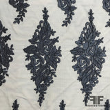 Wispy Floral Embroidered Netting - Navy - Fabrics & Fabrics