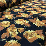 Floral Crinkle Printed Chiffon - Black/Beige/Brown - Fabrics & Fabrics