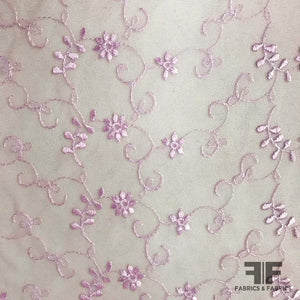 Delicate Floral Embroidered Netting - Purple - Fabrics & Fabrics NY