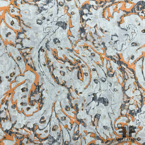 Metallic Abstract Paisley Printed Silk Chiffon - Grey-Orange-Metallic Silver - Fabrics & Fabrics