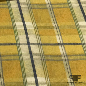 Plaid Twill-Woven Crepe de Chine - Yellow/Green/Violet