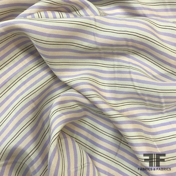 The Row Striped Crepe de Chine - Pale Pink/Purple - Fabrics & Fabrics