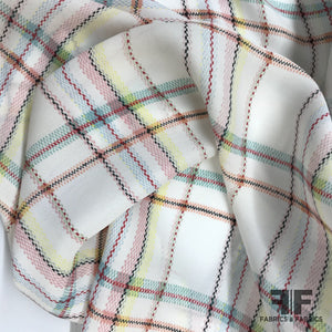 Plaid Printed Silk Crepe de Chine - Multicolor Pastels - Fabrics & Fabrics