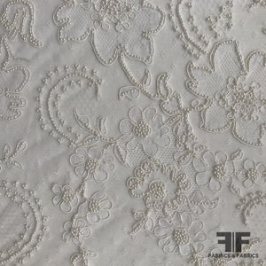 French Couture Beaded Lyon Lace - White - Fabrics & Fabrics