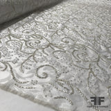 Couture Beaded Brocade - White/Silver - Fabrics & Fabrics NY