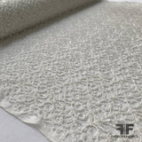 Embroidered Lace with Sequins - Ivory - Fabrics & Fabrics NY