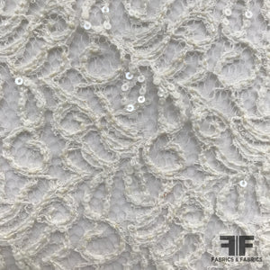 Embroidered Lace with Sequins - Ivory