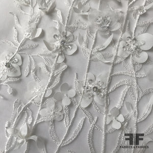 3D Floral Embroidered/Beaded Netting - White